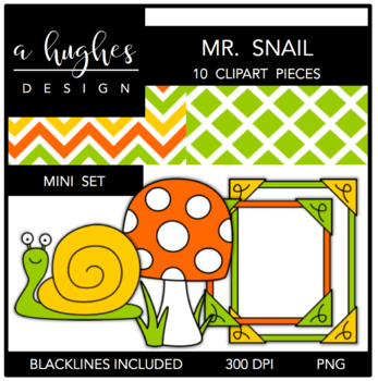 Mr. Snail Mini Set {Graphics for Commercial Use}