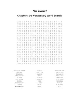 Mr. Tucket Ch. 1-6 Vocabulary Word Search