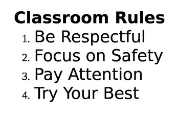 Mr. W's Classroom Rules Sign