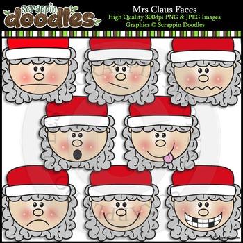 Mrs Claus Faces Clip Art & Line Art