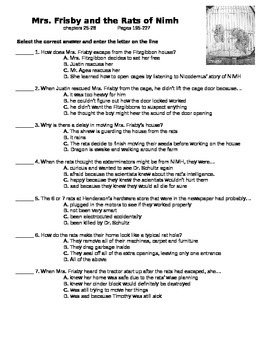 Mrs. Frisby and the Rats of Nimh - quiz on ch 25-28 (p 195-227)