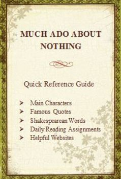 Much Ado About Nothing Quick Reference Pamphlet Bookmark