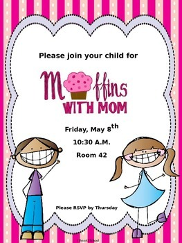 Muffins With Mom Mother's Day invitation