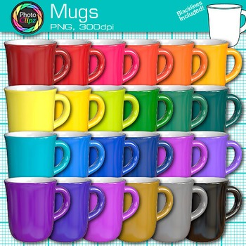 Rainbow Coffee Mug Clip Art {Photorealistic Graphics for C