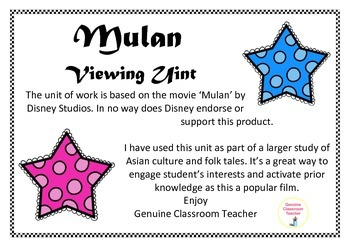 Mulan - a viewing literacy unit