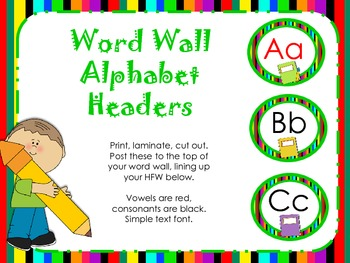 Mulitcolored Alphabet Headers for Word Wall