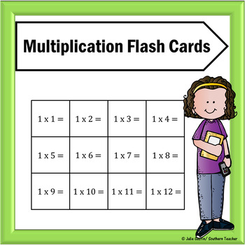 Mulitplication Flash Cards for Facts 0-12