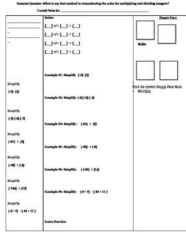 Mult. & Dividing Integers Cornell Notes (7.NS.2; Math. Pra