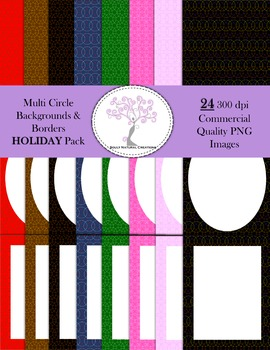 Multi Circle Backgrounds and Borders HOLIDAY Pack