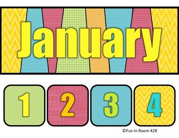 Multi-Colored Calendar Set - Days and Months