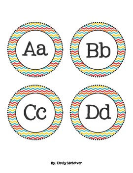 Multi-Colored Chevron Word Wall Letter Cards