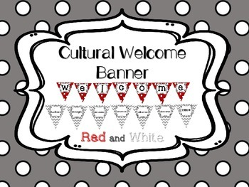 Multi-Cultural Pennant Banner in Red and White