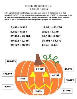 Multi Digit Addition Partner Game: Bust The Pumpkin!