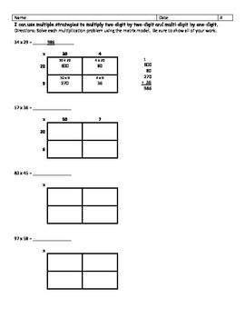Multi-Digit Multiplication (Matrix Model)