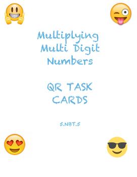 Multi Digit Multiplication QR Emoji Task Cards