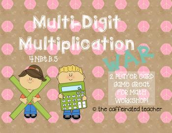 Multi-Digit Multiplication War FLUENCY GAME with ESTIMATIO