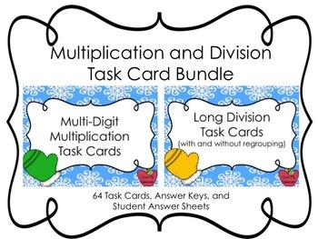 Multi-Digit Multiplication and Division Task Cards Bundle