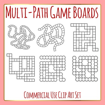 Multi Path Game Boards Template / Layout Clip Art Set for