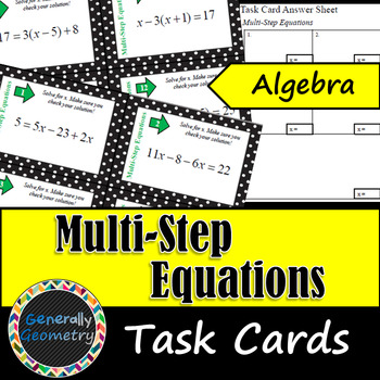 Multi-Step Equation Task Cards: Algebra 1
