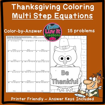 Thanksgiving Fall Multi Step Equations Color by Number Col