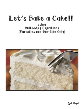 Multi-Step Equations Cake Recipe Task Cards
