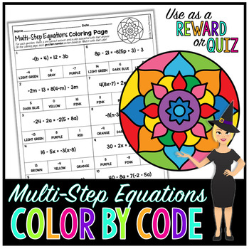 Multi-Step Equations Coloring Page