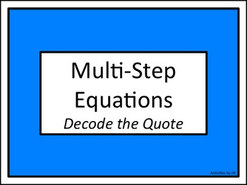 Multi-Step Equations: Decode the Quote