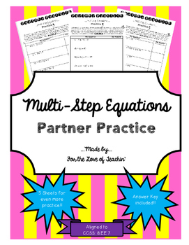 Multi-Step Equations: Partner Practice