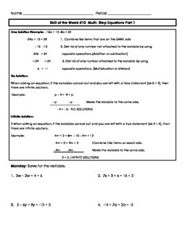 Multi-Step Equations Review Part 1 Skill of the Week (WK 10)