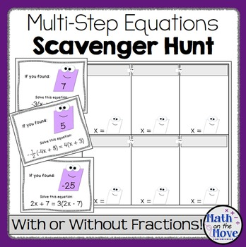 Multi-Step Equations - Scavenger Hunt