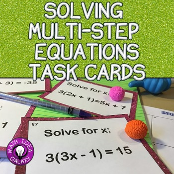 Solving Multi-Step Equations Activity - Task Cards