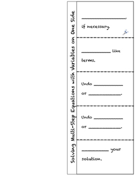 Multi-Step Equations with One Solution Foldables