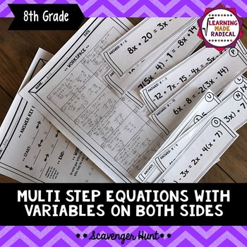 Multi Step Equations with Variables on Both Sides Scavenge