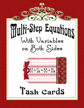 Multi-Step Equations with Variables on Both Sides Task Cards