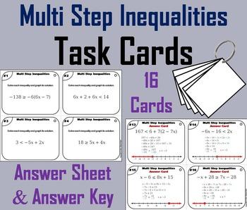 Multi Step Inequalities Task Cards/ Multi Step Inequalitie