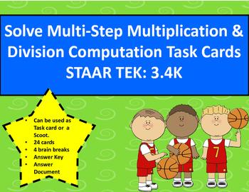Multi-Step Multiplication & Division Computation Task Card