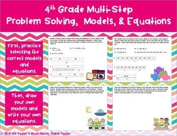 Multi-Step  Problem Solving,  Models, & Equations- 4th Grade