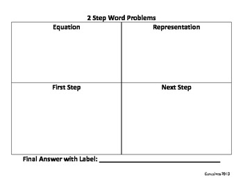 Multi-Step Problems Graphic Organizer