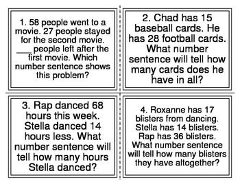 Multi-Step Word Problem Number Sentence Task Cards (TEK 2.