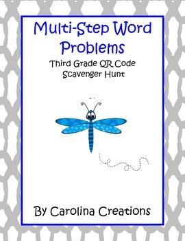 Multi-Step Word Problem QR Code Third Grade Scavenger Hunt