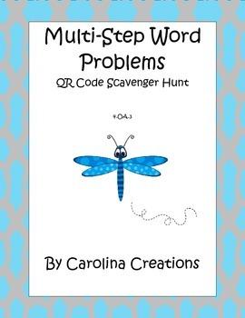 Multi Step Word Problem QR Scavenger Hunt 4.OA.A.3 Fourth