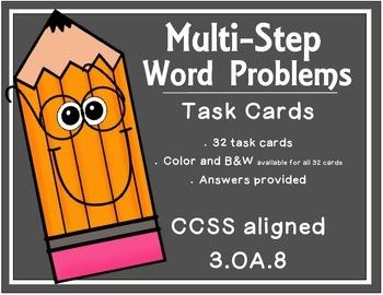 Multi-Step Word Problem Task Cards - 3OA8