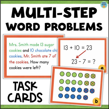 Two-Step Word Problems - Addition and Subtraction Task Cards
