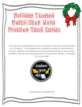 Multi-Step Word Problem Task Cards (Holiday Themed)