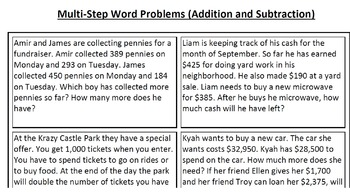 Multi-Step Word Problems--Addition and Subtraction, Mixed