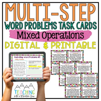 Multi-Step Word Problems Task Cards { All Operations Story