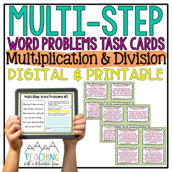 Multi-Step Word Problems Task Cards { Multiplication & Div
