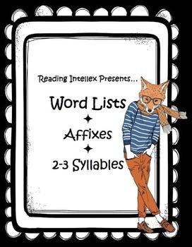 Prefixes and Suffixes - Common Core Phonics Lists
