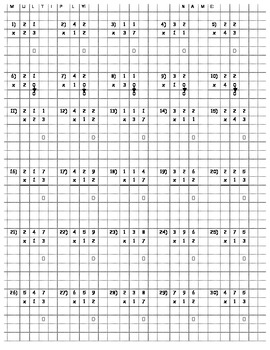 Multi-digit Multiplication (on graph paper for... by Big 505 ...