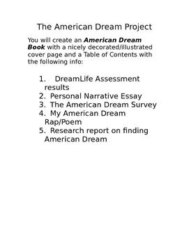 Multi-genre Writing Project on the American Dream